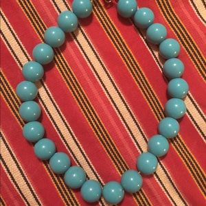 Vintage Blue Beaded Necklace Clasp Choker